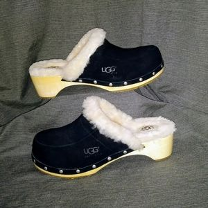 UGG Shoes - Black Suede UGG Mule/Clogs